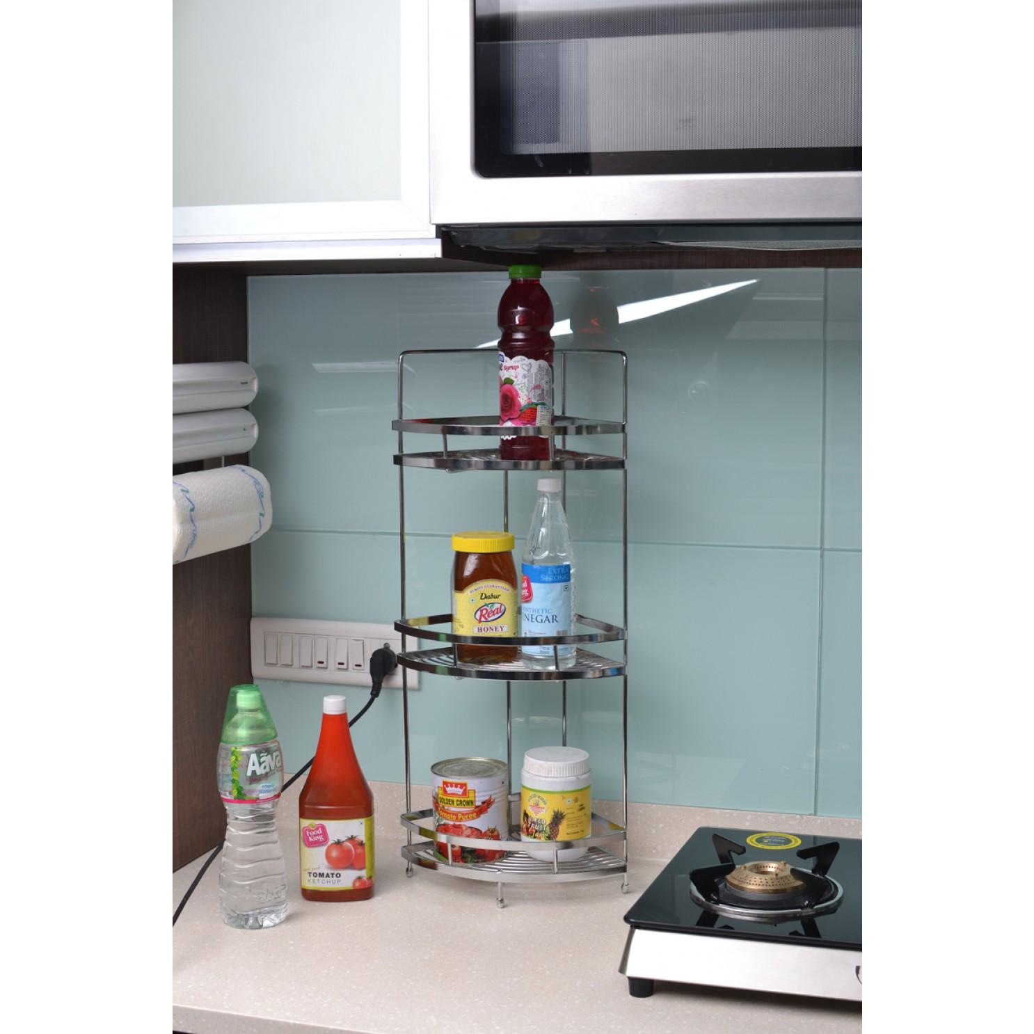 Buy Online Perdiem Triple Corner Shelf - Kitchen Corner Basket - SS