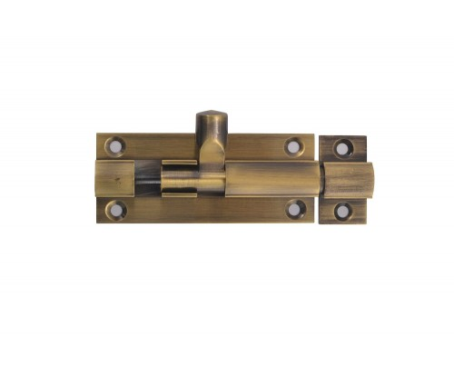 Chetna Round Brass Tower Bolt- Door Stopper (Antique Finish, 75*9)