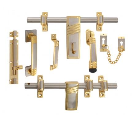 Klaxon Waves Brass Door Kit (Gold + Steel Finish)  sc 1 st  Krios Direct & Door Kit - Buy Door Kit Online | SS Door Kits Online